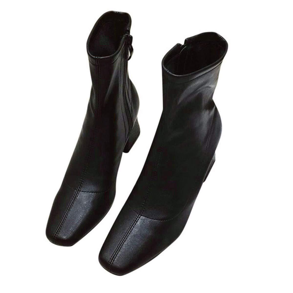 HBDLH Damenschuhe Schlanke Lederstiefel Absatz 5 Ferse cm Hoch Mitte Ferse 5 Martin Stiefel Winter Kurze Stiefel Pravokotno Glavo Dicke Sohle Blanken Stiefeln d75bb7