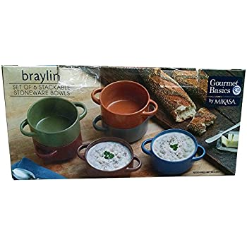 Amazon Com Stackable Stoneware Bowls Gourmet Basics By