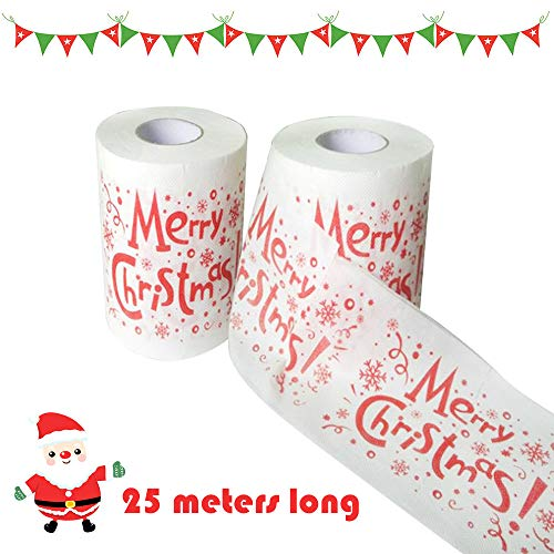 Merry Christmas Toilet Roll Paper, Santa Claus Pattern Roll Paper Print Interesting Toilet Paper Table Kitchen Paper Towel 2 PC (A): Amazon.com: Grocery ...