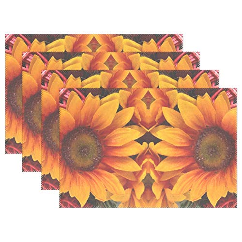 (YPink Sunflower Mirrored Art Creative Artwork 2807975 Placemats Set of 4 Heat Insulation Stain Resistant for Dining Table Durable Non-Slip Kitchen Table Place Mats)