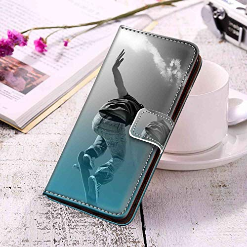 Skateboarding Boy Samsung Galaxy S10+ Phone Wallet Case (2019) (6.4inch) Good Looking