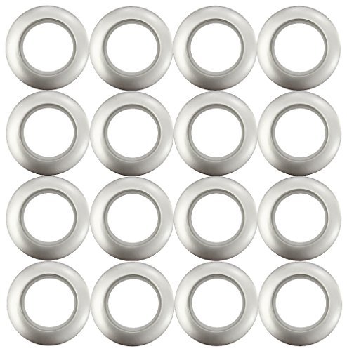 OZ special Curtain Grommets Sheers Grommets Reusable Silencer Sliding Easy snap install Silver 1.73 Inch Inner Diameter(16-Pack)