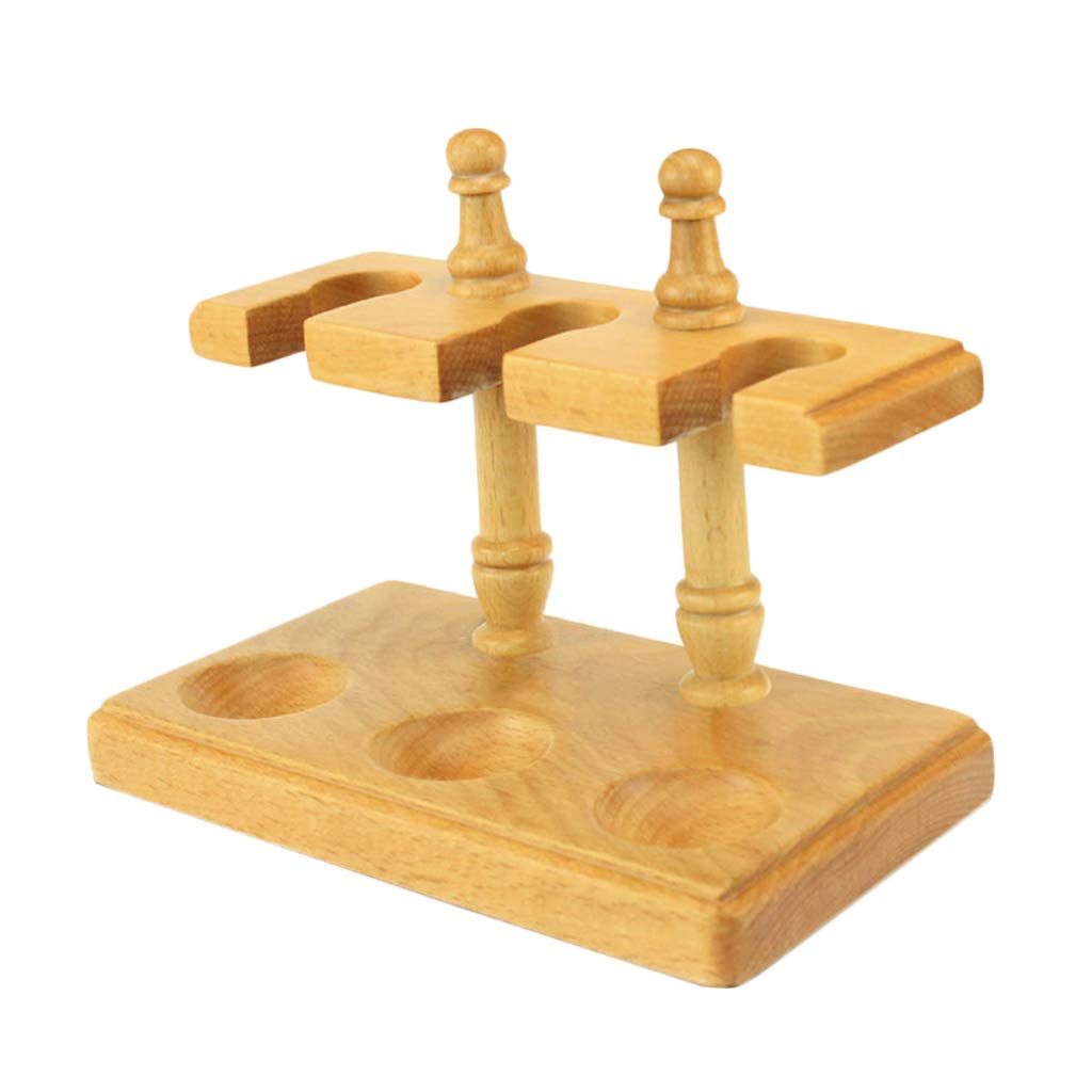 LUCKFY Wooden Tobacco Pipe Stand Rack Display Holder for 3 Smoking Pipes Hand Made Detachable Design by LUCKFY