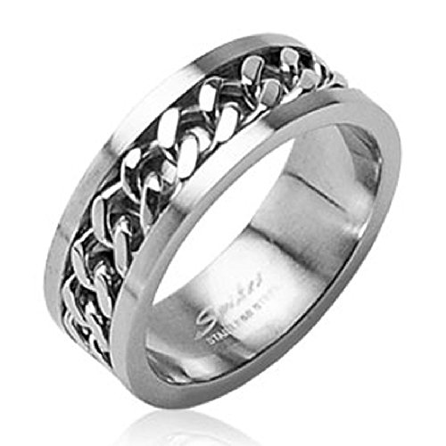 STR-0108 Stainless Steel Cuban Link Chain in Middle Ring 6mm Sz 5-8, 8mm Sz 9-14