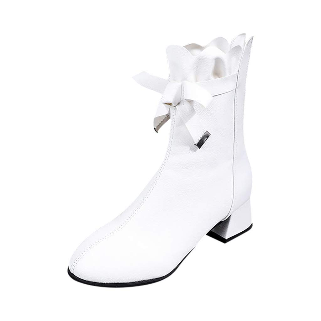 Redacel Women Ankle Bootie Pure Color Round Toe Zipper Boots Fashion Vintage Heels Shoe(35,White by Redacel