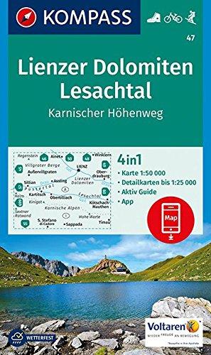 Lienzer Dolomiten, Lesachtal, Karnischer Höhenweg: 4in1 Wanderkarte 1:50000 mit Aktiv Guide und Detailkarten inklusive Karte zur offline Verwendung in ... Skitouren. (KOMPASS-Wanderkarten, Band 47)