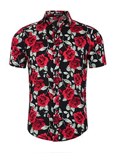 uxcell Men Slim Fit Floral Print Short Sleeve Button Down Beach Hawaiian Casual Aloha Shirt Black-Rose L (US -