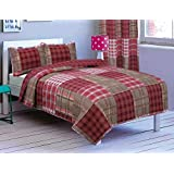3-Piece Printed Quilt Set FULL / QUEEN SIZE Bedspread Coverlet Bed Cover (Red, Burgundy, Taupe Plaid)