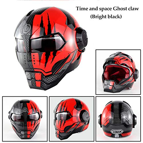 Personality Flip Front Motorcycle Helmet - Iron Man Off-Road Competition Helmet - Retro Style Transformers Full Face Cycling Bike Helmet for Road Race Adult YouthShining red Ghost Claw-XL