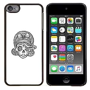 Cubierta protectora del caso de Shell Plástico || Apple iPod Touch 6 6th Touch6 || Tatuaje del cráneo de la novia del bosquejo del motorista Tinta @XPTECH