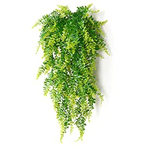 2 Pcs Artificial Plants Vines Boston Ferns Persian Greenery Rattan Fake Hanging Plant Faux Hanging Fern Flowers Vine Outdoor UV Resistant Plastic Plants for Wall Indoor 52