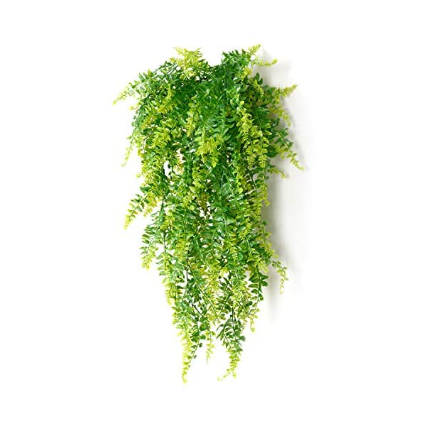 2-Pcs-Artificial-Plants-Vines-Boston-Ferns-Persian-Greenery-Rattan-Fake-Hanging-Plant-Faux-Hanging-Fern-Flowers-Vine-Outdoor-UV-Resistant-Plastic-Plants-for-Wall-Indoor
