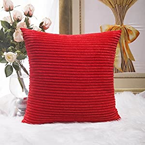 HOME BRILLIANT Super Soft Striped Plush Velvet Corduroy Euro Throw Pillow Sham Cushion Cover for Couch, Sofa, Floor, 24 x 24 inch (60cm), Red
