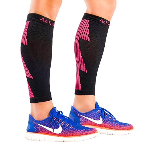 ActiveGear Calf Compression Sleeves for Men and Women to Improve Circulation and Recovery - Black/Pink L/XL (One Pair)