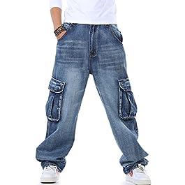 Yeokou Men's Casual Loose Hip Hop Denim Work Pants Jeans with Cargo Pockets