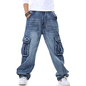 Yeokou Men's Casual Loose Hip Hop Denim Work Pants Jeans with Cargo Pockets