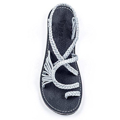 Plaka Flat Summer Sandals for Women Urban Gray Size 10 Palm Leaf