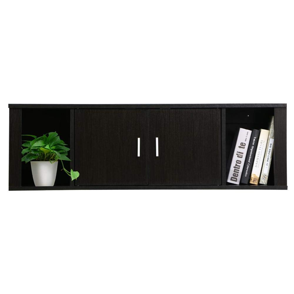 Yaheetech Floating Wall Mounted TV Media Console Desk Hutch Storage Shelves Home Office Organizer, Black Brown by Yaheetech