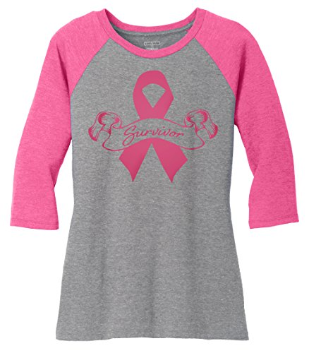 KAMAL OHAVA Women's Breast Cancer Awareness Baseball Tee, Survivor, (Pink Ribbon Merchandise)