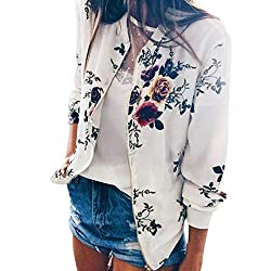Iybuia Autumn Womens Ladies Retro Print Floral Zipper Up Bomber Jacket Casual Coat Outwear White M