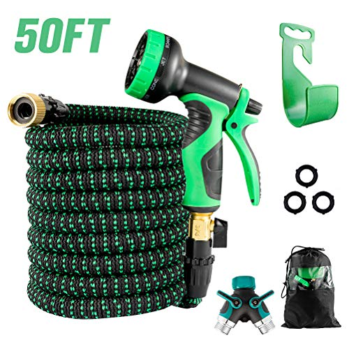 HOMIMP Expandable Garden Hose 50ft, Super Durable 3-Layers Latex with 9 Function Spray Nozzle, 2-Way Splitter, Solid Brass Fittings, Flexible Water Hose for Watering and Washing