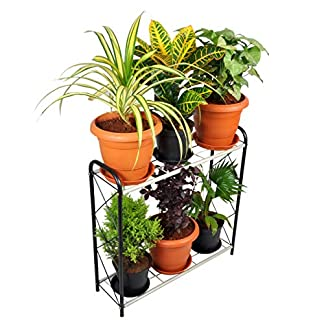 D&V Engineering Metal Planter Indoor/Outdoor Flower Pot Stand, Plant Stand, Kitchen Shelf Stand for Home Decor, Office, Garden, Balcony Decor (White, 6 Pot Rack Type) 51dcOU0JxJL