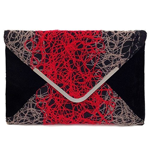 Ombre color Mixed Fabric Bohemian Envelope Clutch, Red