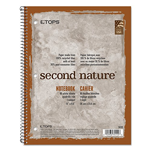 Spiral Recycle Notebooks - TOPS 74112 Second Nature Subject Wirebound Notebook, 11 x 8 1/2, White, 80 Sheets