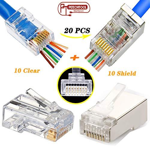 RJ45 CAT6 Connector Pass Through End Shielded Clear Ethernet 8P8C Modular Plug