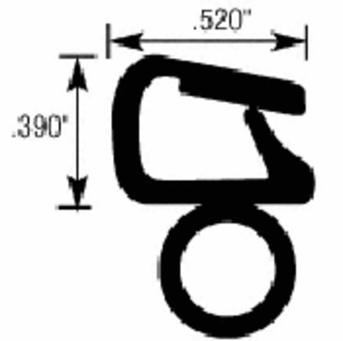 CRL Horizontal 3/8 in Bulb Trim Seal - Flange Size: .090 in to .190 in