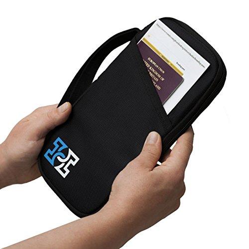 Reise-Geldbörse, RFID geschützte Ausweishülle, Dokumententasche + gratis Koffergurt
