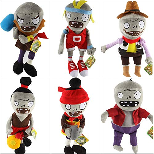RAFGL 6Pcs/Lot PVZ Plants Vs Zombies Plush Stuffed Toys PVZ 2 Zombies Plush Toy Doll Game Figure Statue for Kids Gifts Party Toys Must Haves for Kids 5 Year Old Girl Gifts The Favourite Anime by RAFGL