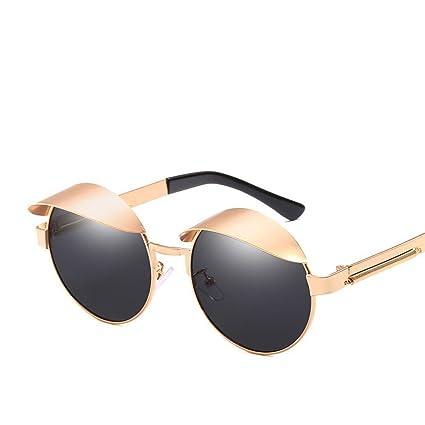 BiuTeFang Gafas de Sol Mujer Hombre Polarizadas Redondas de Metal Sol Espejo Marea Hombre y Gafas