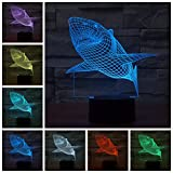 Geekercity Shark 3D Optical Illusion Desk Lamp Night Light, 7 Colors Changing Touch Switch Table Home Decoration Nightlight for Bedroom Kids Room, Creative Christmas Gifts
