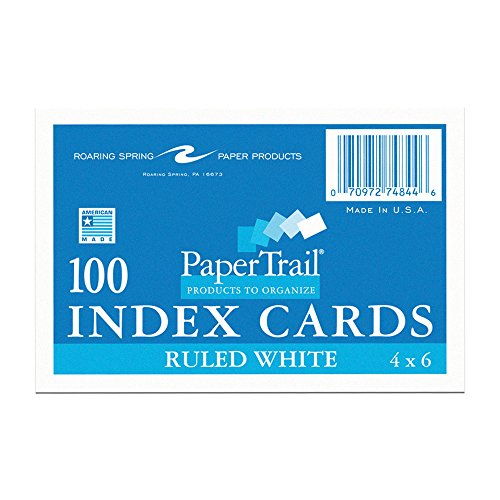 Case of 36 Packs of Index Cards, 4''x6'', 100 sheets of White 100# Index Per Pack, Ruled one side by Roaring Spring