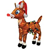 """ProductWorks 24"""" Pre-Lit Soft Tinsel Rudolph the Red-Nosed Reindeer Christmas Yard Art Decoration - Clear Lights"""