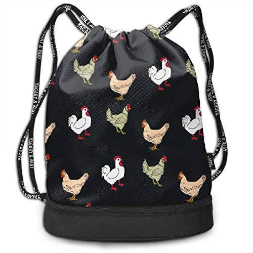 Price comparison product image DanciCa Hen House Drawstring Backpack Sport String Bag Cinch Pack Shoulder Bag