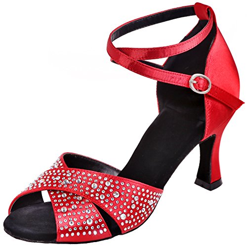 LOSLANDIFEN Womens Peep Toe Crystals-Encrusted Dance Shoes Criss Cross Strap Salsa Tango Latin Sandals Red-a ACU9y