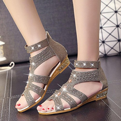 HLHN Women Sandals,Rome Fish Mouth Hollow Zip Ankle Flat Open-Toe Leisure Shoes Beach Fashion Casual Vintage Lady Summer Gold C