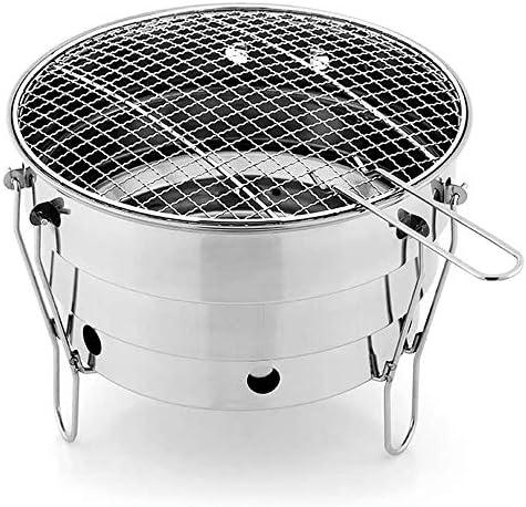 JNWEIYU Petit Gril, extérieur en Acier Inoxydable BBQ Portable Charbon Poêle, Pique-Nique Pliante Griller Camping Équipement