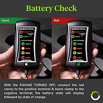 12/24V DC Automotive Battery Tester [Large Clamps] [LED Display] - Alternator/Battery Check/Diagnostic Tool for Cars Motorcycles Trucks: Automotive