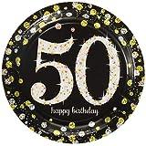 "Amscan 541546 Sparkling Celebration 50 Round Prismatic Plates, Multicolor, 7"", 8ct"