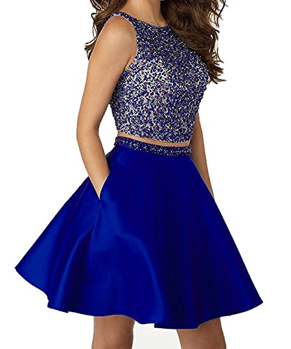 Little Star Satin Homecoming Dresses 2017 Short For Juniors With Pocket Two Piece Prom Dress Royal Blue, ()