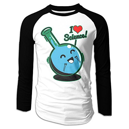 Creamfly Mens I Love Science Long Sleeve Raglan Baseball Tshirt - Code Discount Pilot