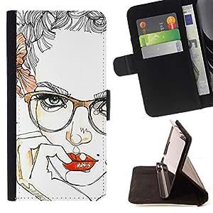 BullDog Case - FOR/Samsung Galaxy Note 3 III / - / LIPS SENSUAL GIRL RED SMART GLASSES /- Monedero de cuero de la PU Llevar cubierta de la caja con el ID Credit Card Slots Flip funda de cuer