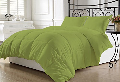 Luxurious and Hypoallergenic 800 Thread Count 1 Piece Down Alternative Comforter 400 GSM Microfiber Fill Medium Weight 100% Egyptian Cotton Solid By Kotton Culture (Queen / Full, Moss)