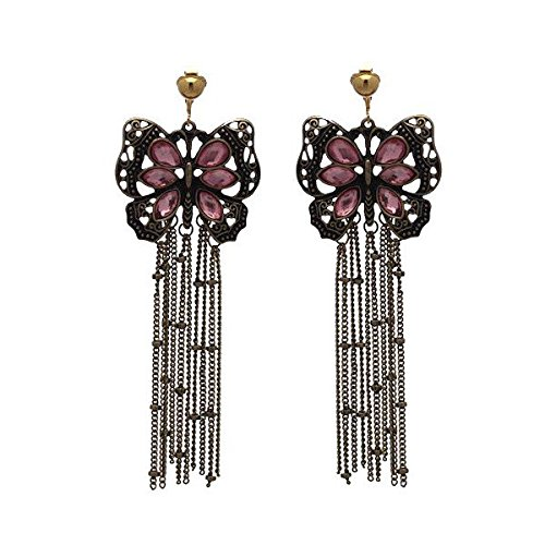 - VIOLANTE Antique Gold plated Pink Butterfly Clip On Earrings