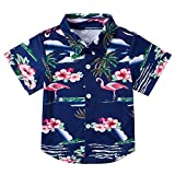 Summer Hawaiian Shirts Boy Beach Aloha Pink Flamingo Dress Shirts Party Camp Casual Short Sleeve Tops for Holiday Beach 7-8T
