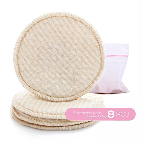 Organic Nursing Pads, Cotton Super Soft & absorbent, Leak-proof, with Laundry Bags, 8 Pack of Washable Nursing Bra pads (8 Pack)