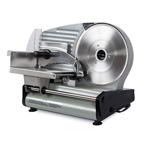 GHP Home/Industrial Silver 17″ Wx9.5 Lx11.5 H 180 Watt Compact Electric Meat Slicer